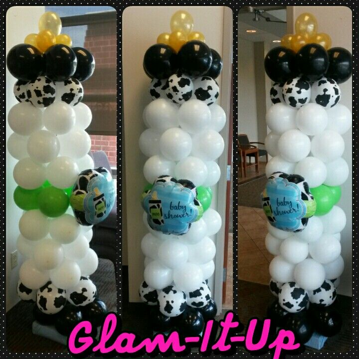 Moo la la baby shower balloons by Gl-It-Up Exclusive Designs