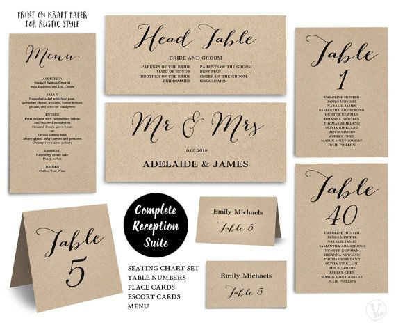 Printable Wedding Seating Chart Template PLUS Table Numbers Menu - Wedding invitation templates: seating chart template wedding