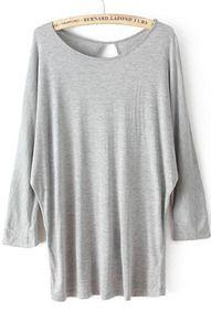 Grey Batwing Long Sleeve Hollow Loose T-Shirt