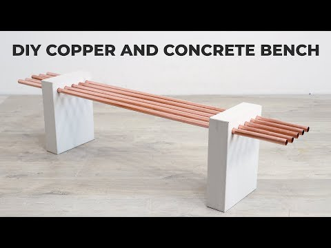 Diy White Concrete And Copper Bench Youtube In 2020 Concrete Diy Diy Concrete Countertops Concrete Bench