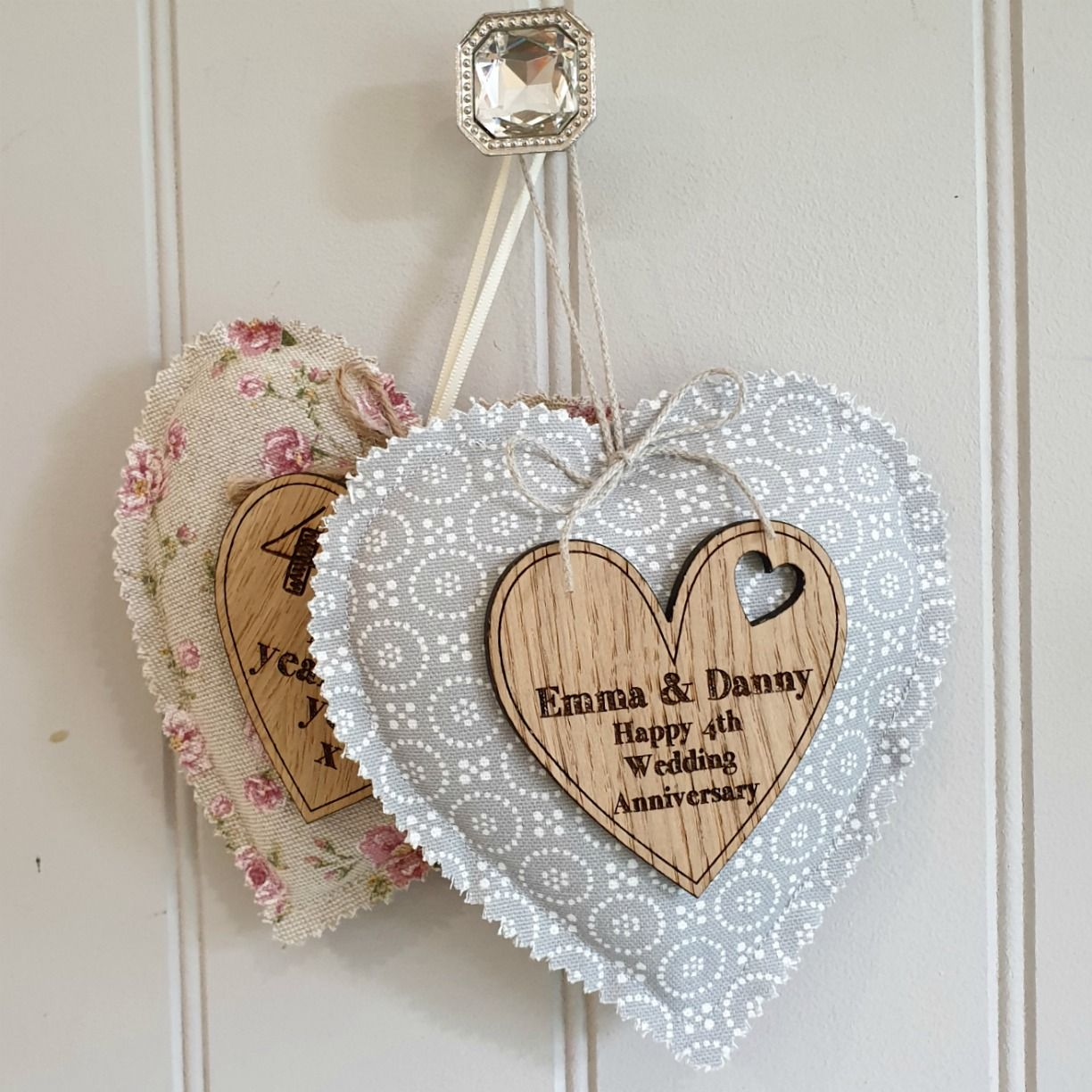 12th Wedding Anniversary Fabric Heart With Oak Message Heart