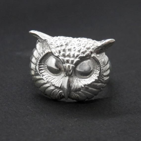 White Owl Ring Witch Ring Totem Ring Pagan Ring