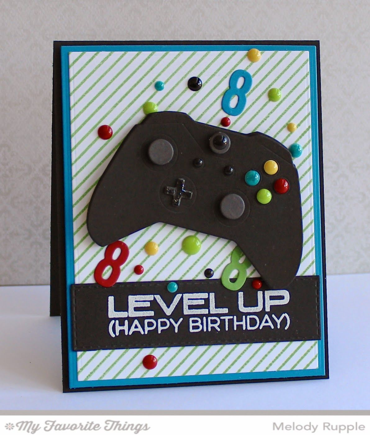 Level Up Game Controller Die Namics Diagonal Stripes Background Horizontal Stitched Strips Little Numbers