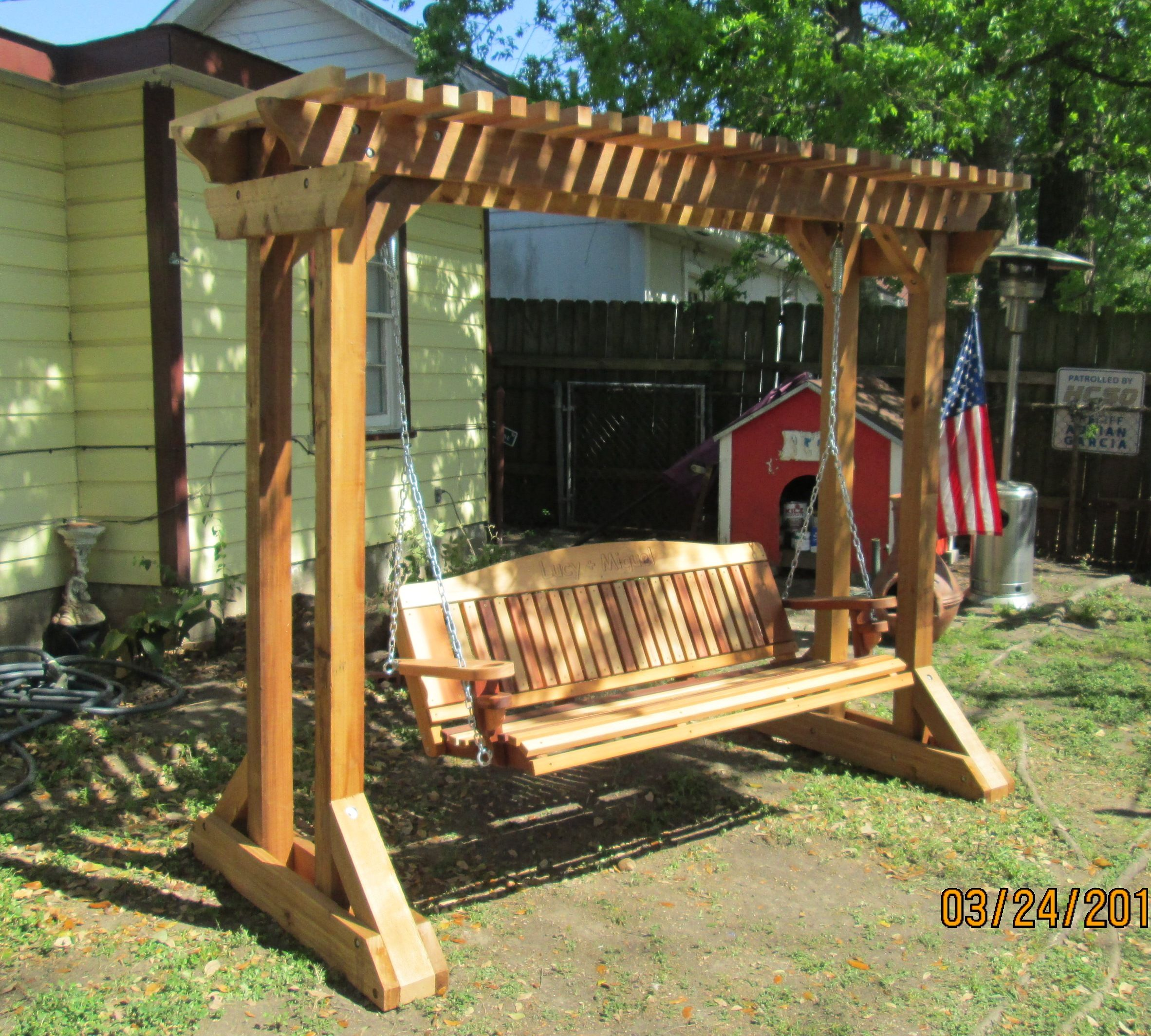 Outdoor swing frames hand made cedar porch swings for Log swing plans