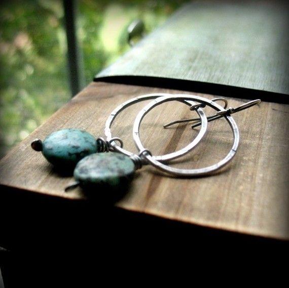 Turquoise Earrings Turquoise Hoop Earrings by AndewynDesigns