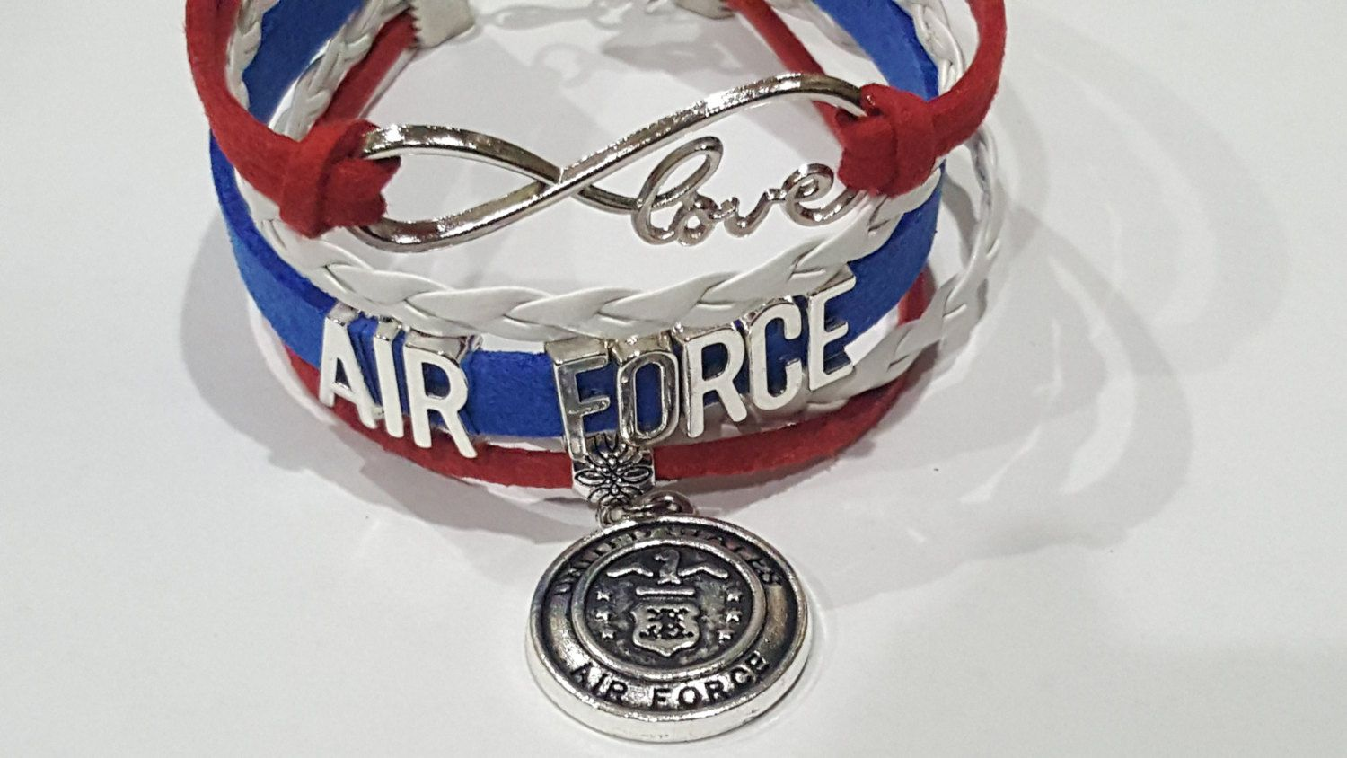 New Air Force Infinity Love Bracelet Red White Blue By Ecdazzle On Etsy Love Bracelets Infinity Love Stuff To Buy