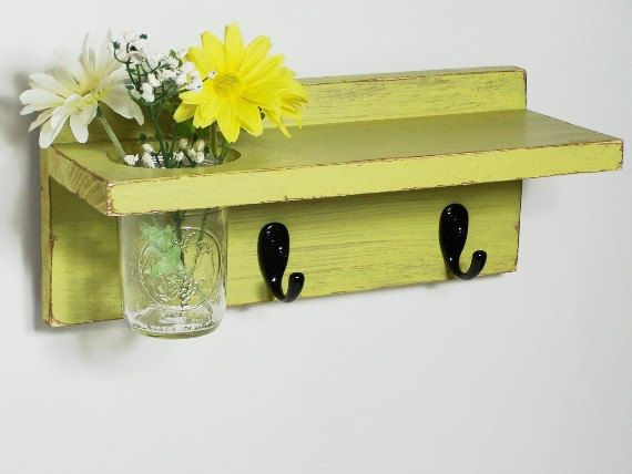 Vintage shelf 2 key hooks with floral wall vase, wood, distressed ...