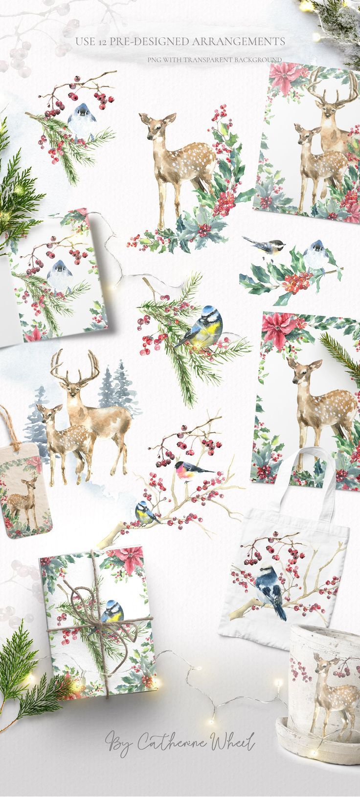 Christmas Deer Clipart Watercolor Woodland Animals Vintage