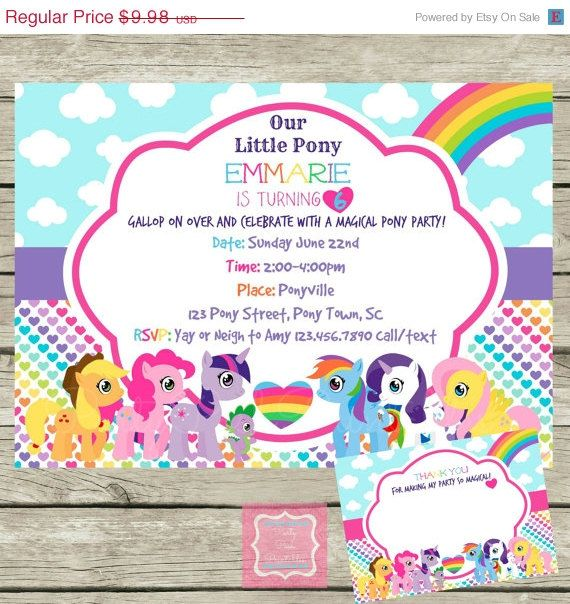 ON SALE My Little Pony Invite and Thank You Cards Personalized DIY