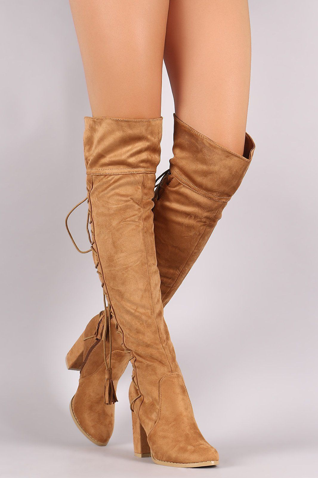 a1c3867184293 Suede Back Tassel Corset Lace Up Chunky Heeled Over-The-Knee Boots ...