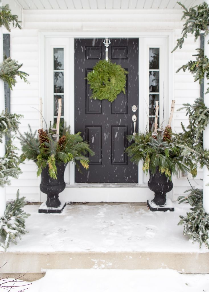 Decorating Front Porch Urns For Christmas Unique Winter Christmas Porch With Black Door And Winter Urns  Christmas Decorating Design