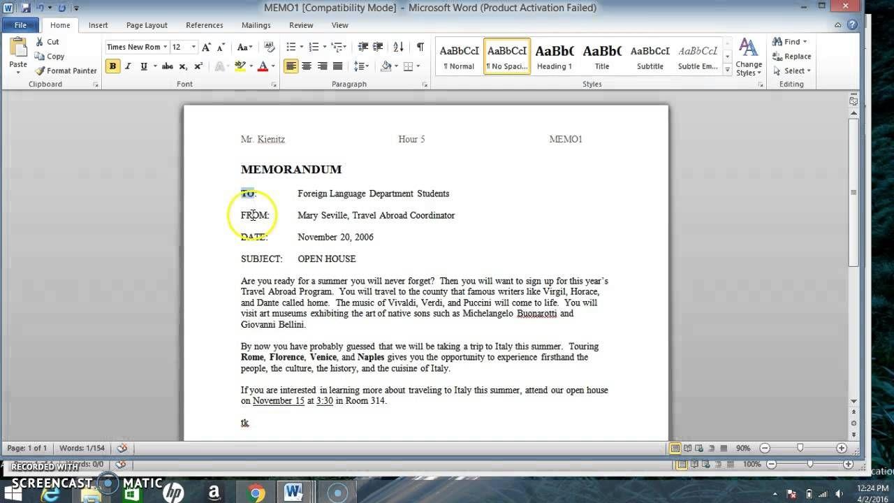 Writing Business Memos Exercises