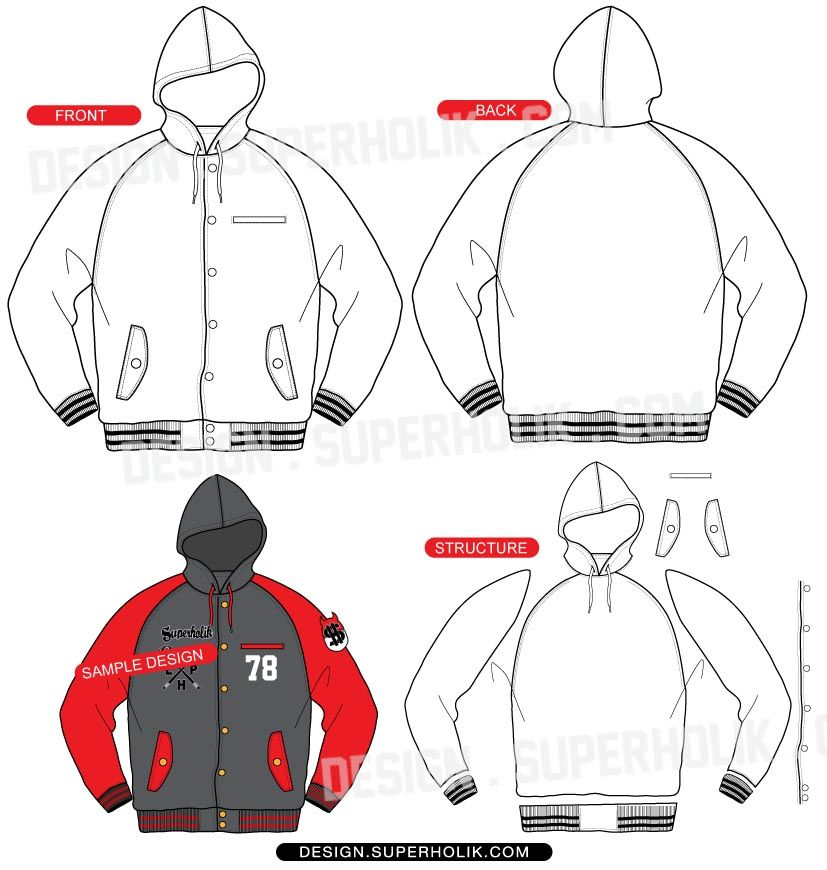 Hooded varsity jacket vector template | Fashion Vector Templates ...