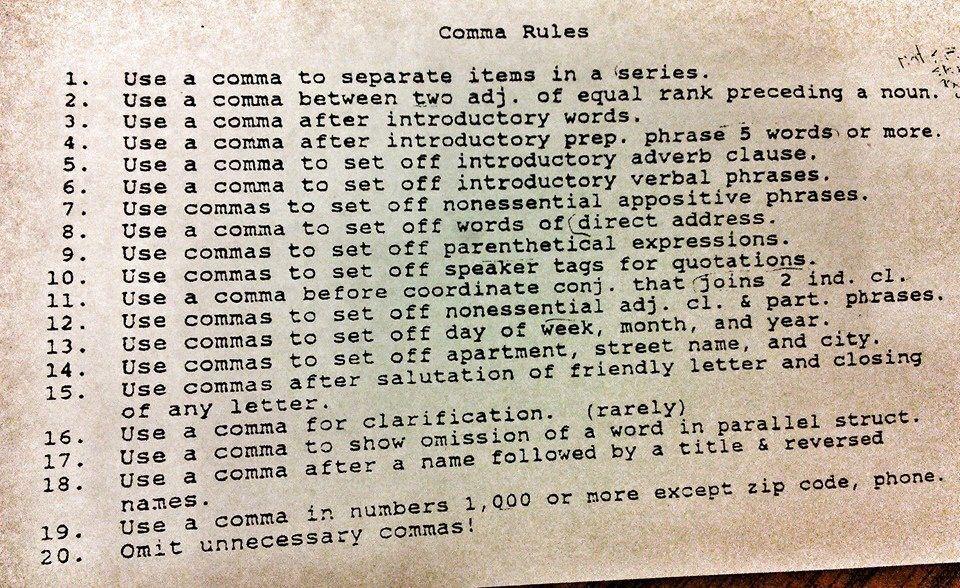 Comma rules (Writing)   English writing, Teaching grammar ...