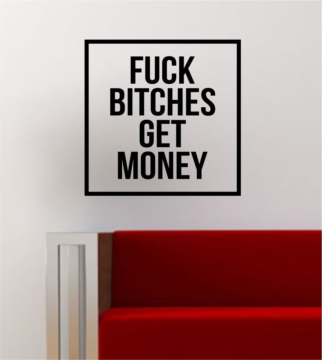 Scarface money power respect vinyl wall decal for home decore - F B Get Money Simple Square Design Biggie Rap Music Quote Music Lyrics Wall Decal Sticker Vinyl Art Home Decor Positive Affirmations Thoughts And