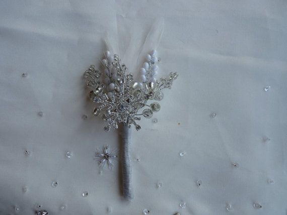 Boutonniere in silver with  large diamante by DuckBarnFlorals