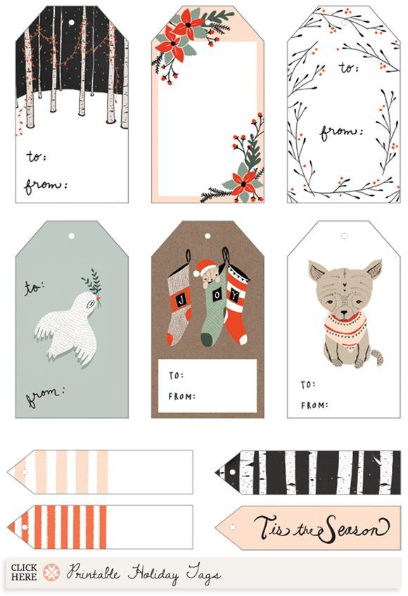 Free printable Illustrated Holiday Gift Tags by Kelli Murray (and - christmas gift card templates free