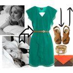 flirty ruffle front dress, with amazing clutch.