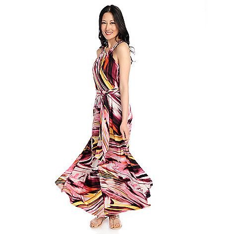 722-266 - The Countess Collection Stretch Knit Halter Tie Waist Printed Maxi Dress