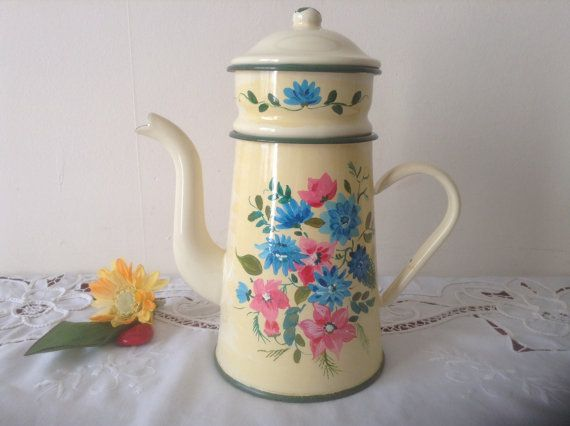 Reserved Kathy Lovely Enamel Coffee Pot Vintage French Etsy Vintage Coffee Pot Coffee Pot French Vintage