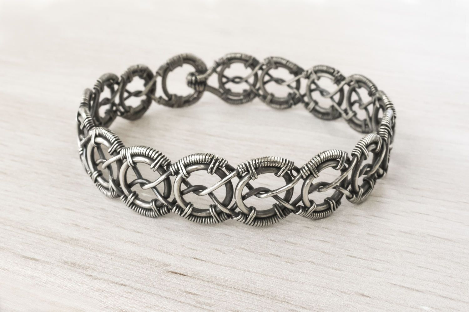 Braided Wire Wrapped Woven Guff Silver Bracelet - FREE SHIPPING by ...