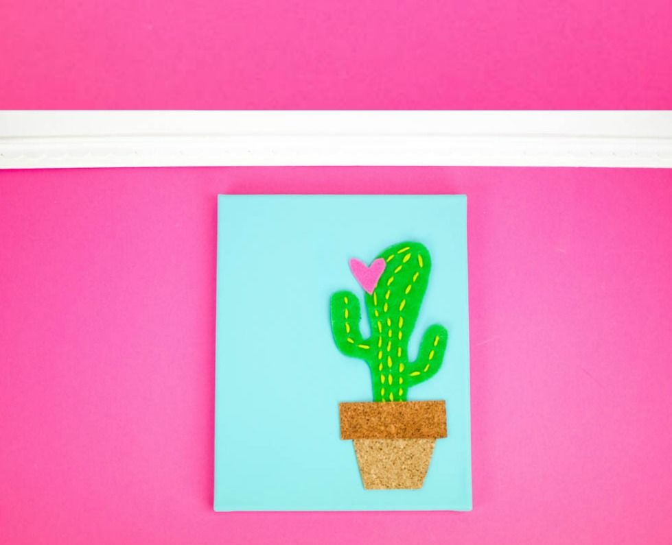 I was brainstormingValentine's crafts and decor the other day and I guessmy love of cactibrought thisDIY Cactus Canvas to my mind.