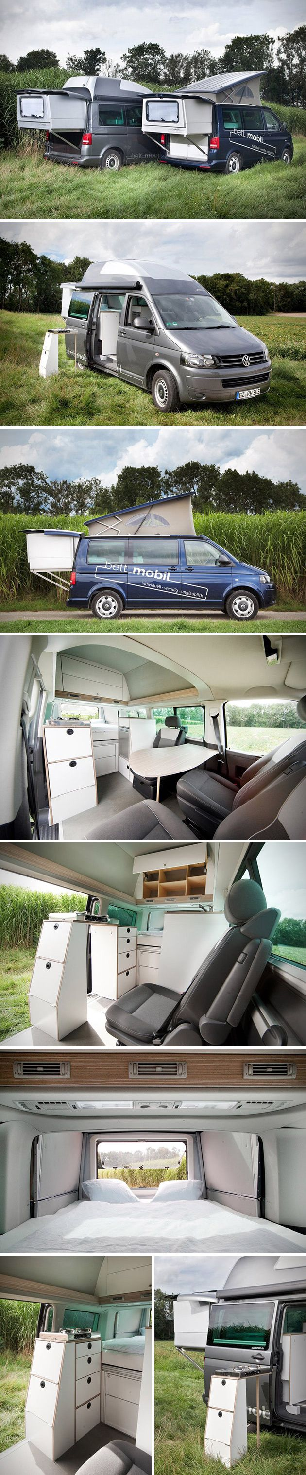 the bett mobil is a smartly designed add on that transforms the volkswagen multivan into a full. Black Bedroom Furniture Sets. Home Design Ideas