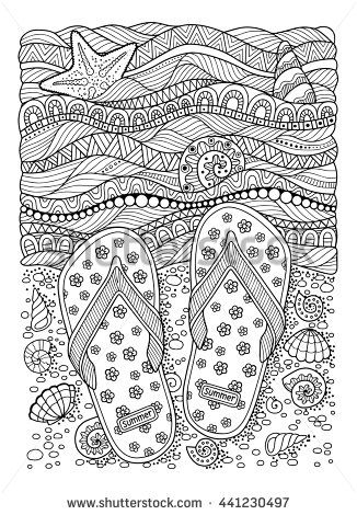 Coloring Book For Adult Sea Beach Slippers Sand And Shell Hand Drawn Flip Flop Sandal