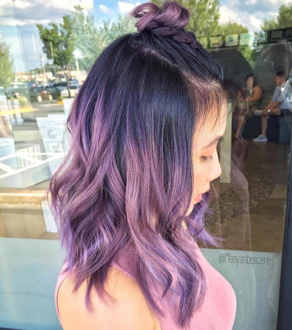 Pastel Purple Hair With Black Roots Purple Balayage Lilac Hair Purple Hair