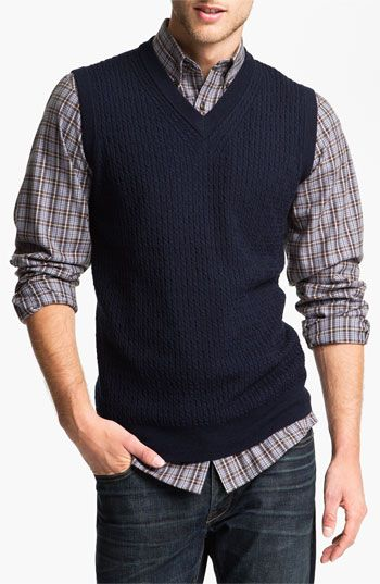 Nordstrom Cable Knit Merino Wool Sweater Vest available at ...