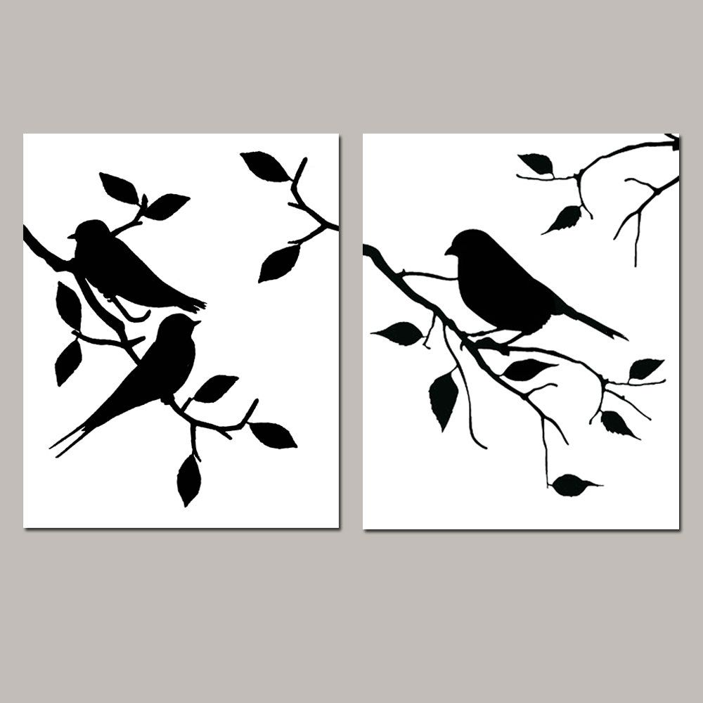 Black and white prints for bathroom - Birds Of A Feather Duo Set Of Two 8x10 Modern Bird Prints Kitchen Bathroom Nursery Choose Your Colors Shown In Black And White