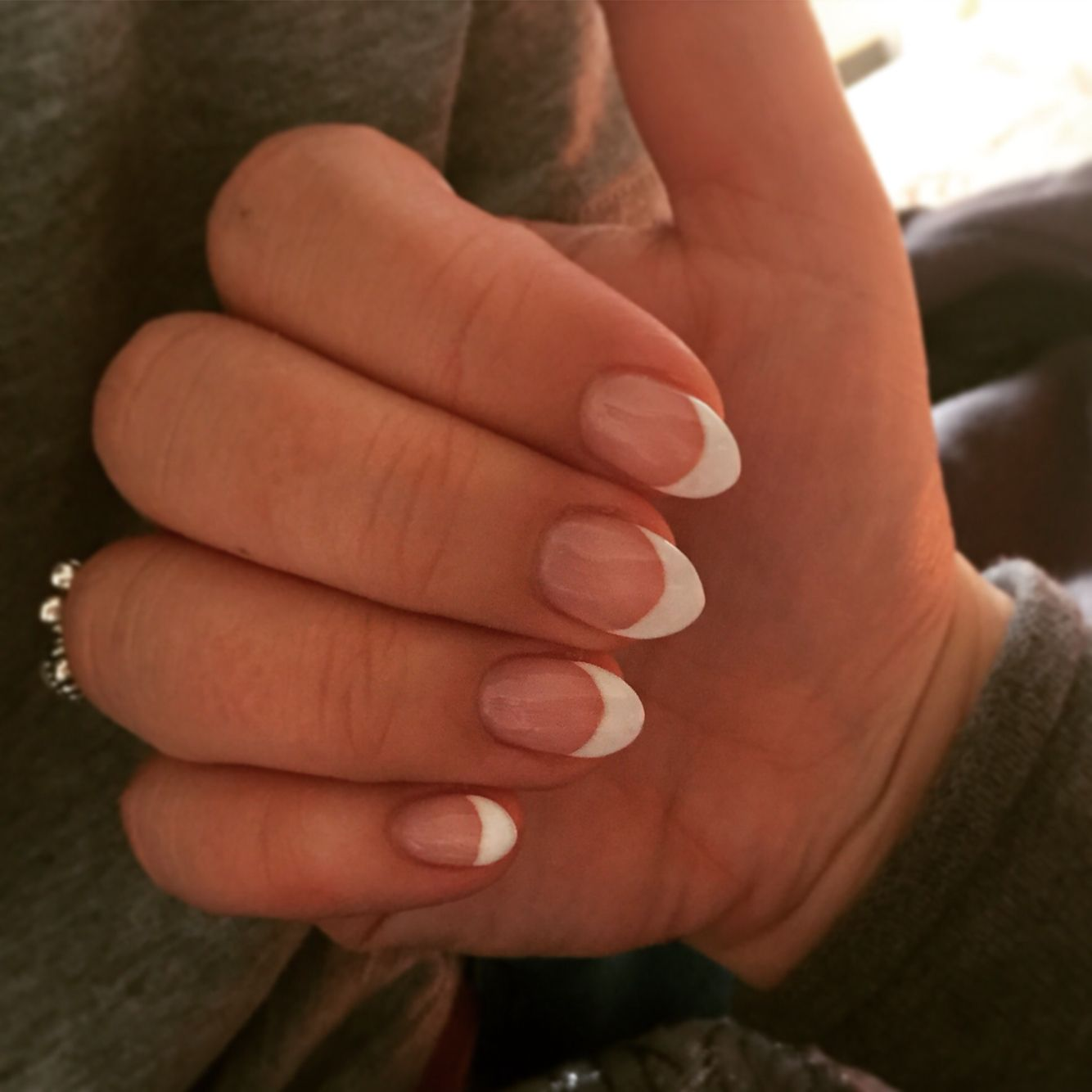 Gelish French Mani on sculpted almond acrylics :) My new favourites ...