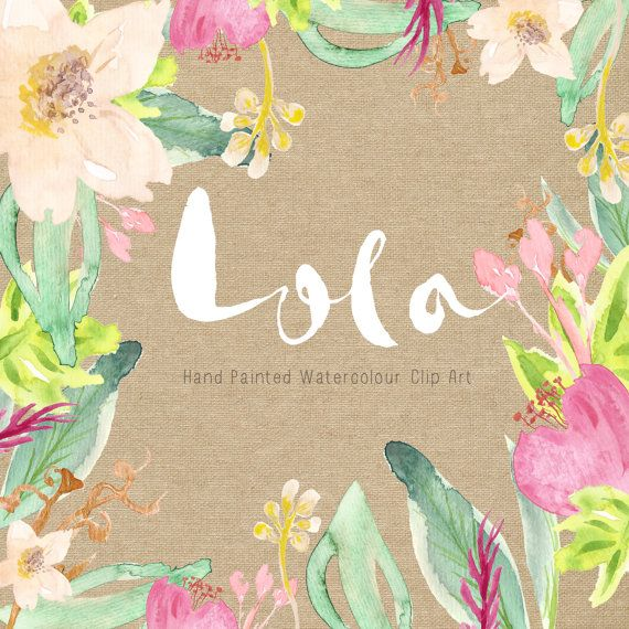 Watercolour Hand Painted Clip Art Lola by CreateTheCut on Etsy