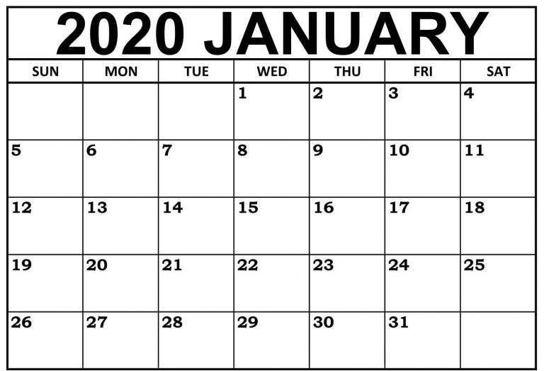 Free January 2020 Calendar Printable Templates Download in ...