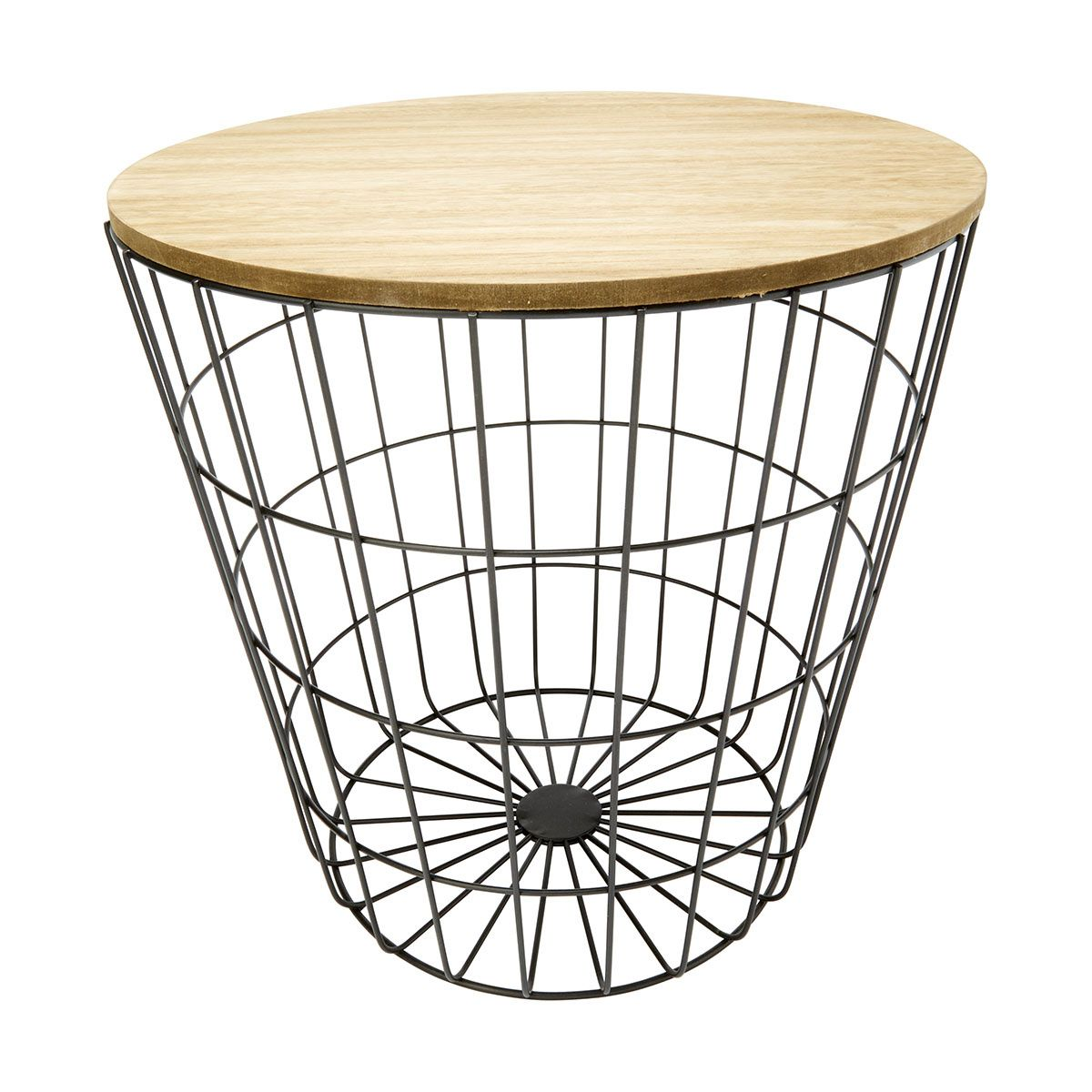 Storage wire basket table natural look black wire basket storage wire basket table natural look black kmart greentooth Image collections