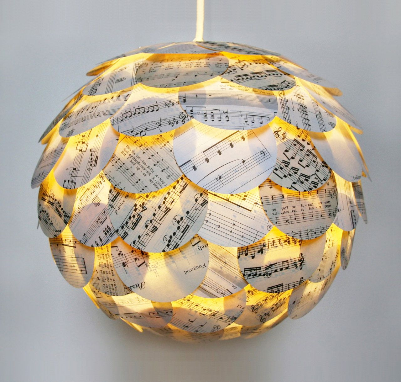 Artichoke Sheet Music Pendant Light Hanging