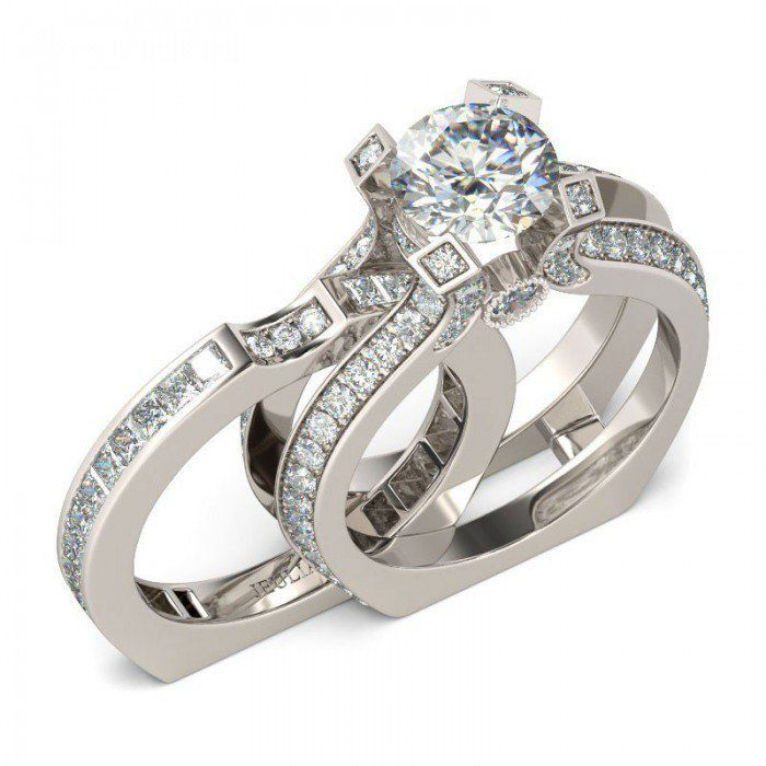 Interchangeable 20 CT Round Cut Created White Sapphire Wedding Set 288CT TW