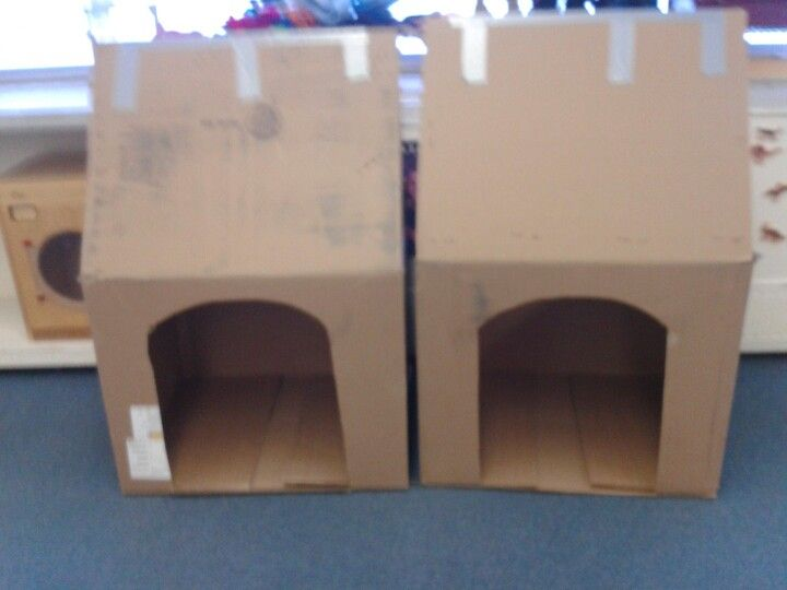 Dog Houses Made From Cardboard Boxes The Pre K Kids Painted Them