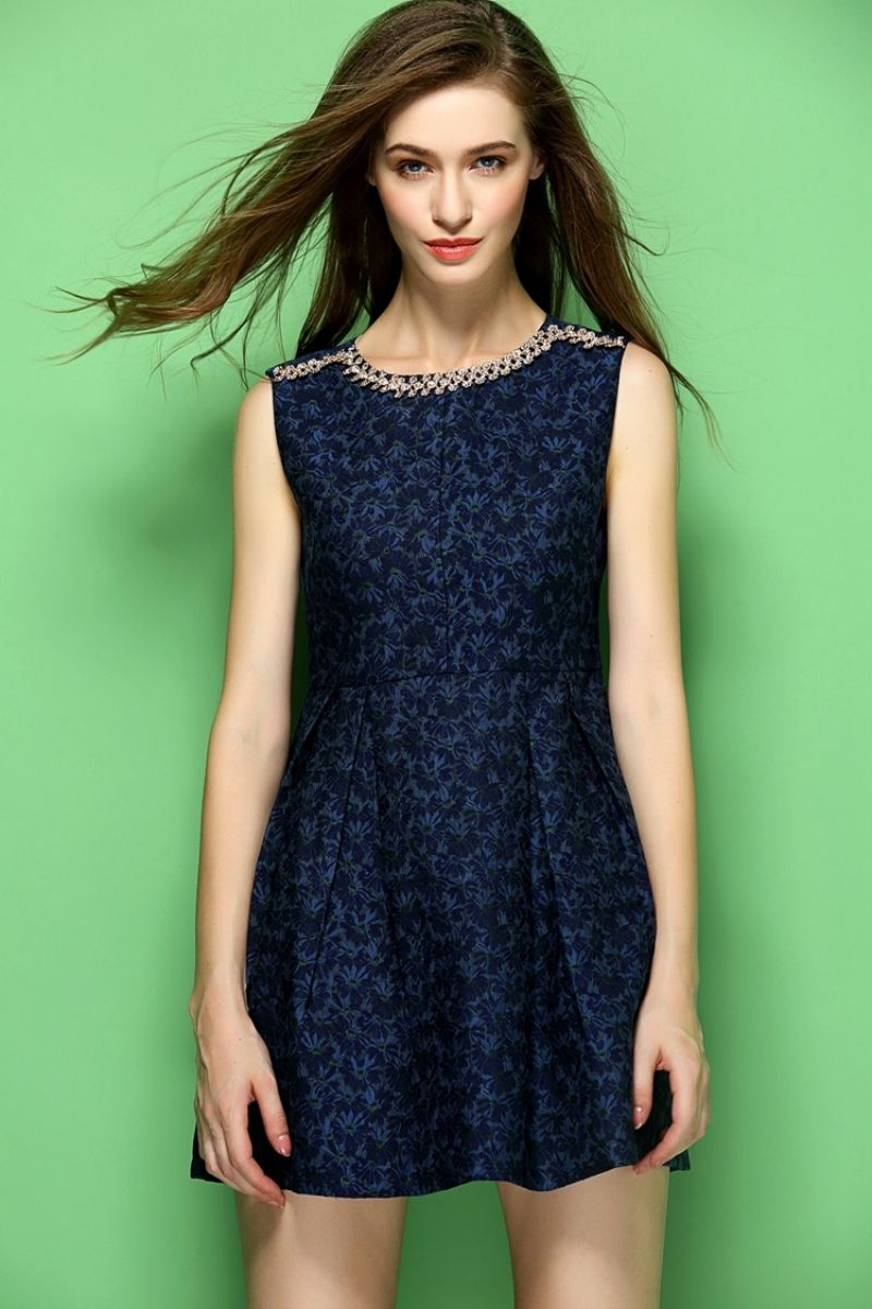 Navy Jacquard Flare Dress
