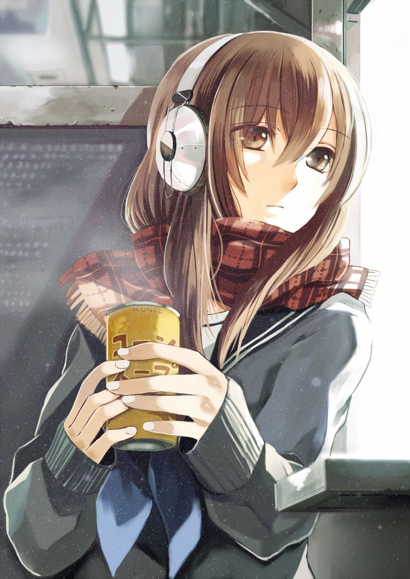 Tags Beverage Brown Eyes Brown Hair Headphones Long Hair Scarf Seifuku Winter Artist Toryufu Manga Anime Anime Dễ Thương