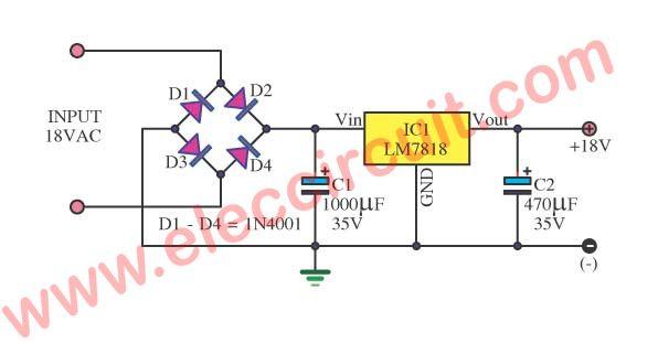 18v dc power supply circuit using lm7818 power supply pinterest rh pinterest com
