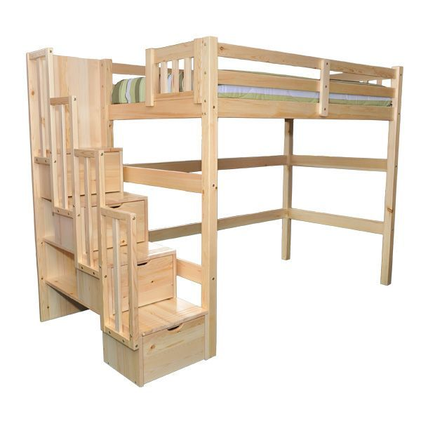Aria Staircase Full Loft Bed Kids Youth Loft Beds With