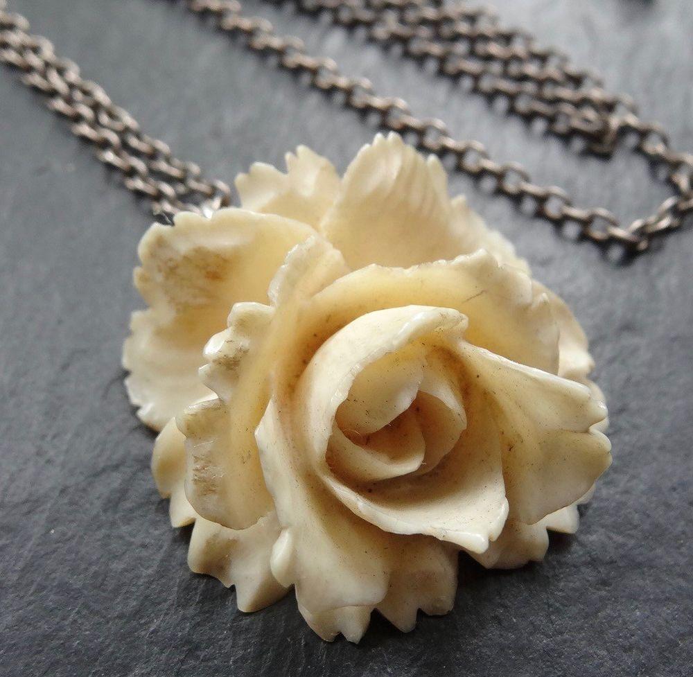 Vintage Art Deco Silver Carved Bone Rose Flower Pendant Chain Necklace D61 Flower Pendant Vintage Art Deco Edwardian Jewelry