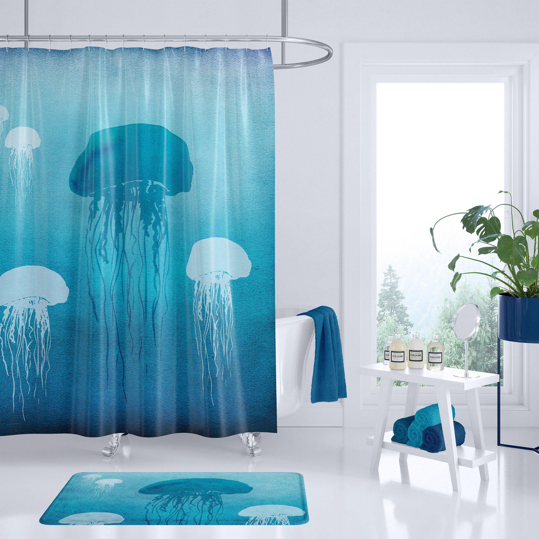 Jellyfish Shower Curtain Sea Jellies Watercolor Art Undersea