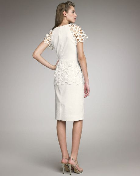 Lela Rose Lacedetailed Dress in White (ivory) - Lyst
