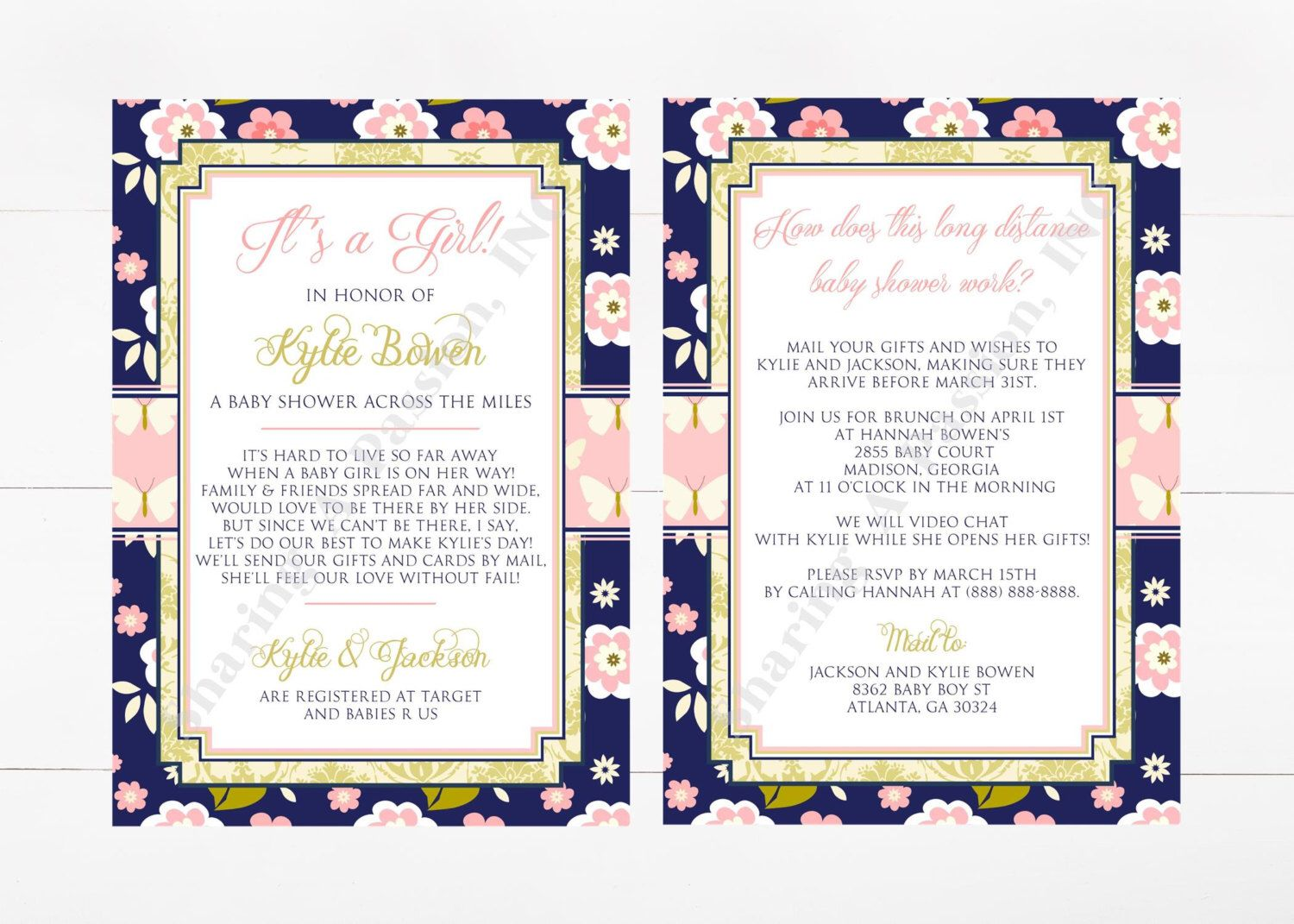 Long Distance Baby Shower Invitation - Shower By Mail Invite ...