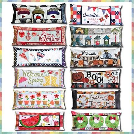 Kimberbell Bench Pillow Quilt Kit - Includes 12 Seasonal Pillow Kits with Pre-cut & Pre-fused Appliqués at Everything Quilts