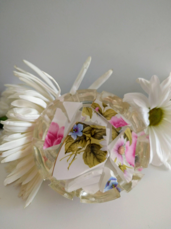 Newlywed Wedding Resin Paperweight Broken Glass Round Half