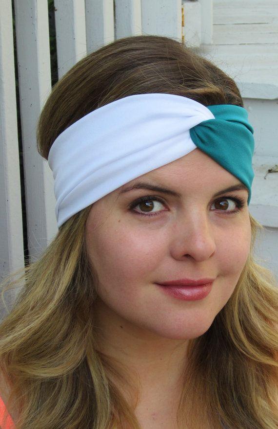 Philadelphia Headband Teal Green And White Headband Football Headband Sport Headband Twist Headband Womens Sport Headbands