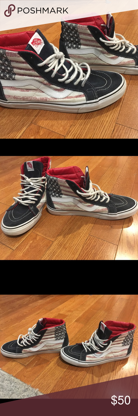 41268f04932 Vans Off The Wall Mens Size 10 American Flag Shoes Vans Off The Wall Size 10